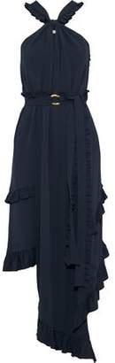 Derek Lam 10 Crosby Belted Ruffle-Trimmed Silk-Blend Midi Dress