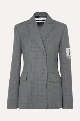 Off-White Galles Appliquéd Checked Woven Blazer - Gray