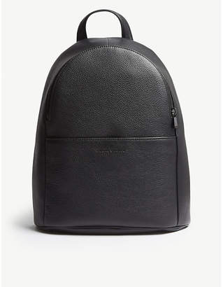 Emporio Armani Black Grained Leather Backpack