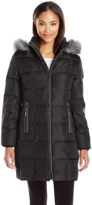 Fleet Street Ltd. Women's Box Quilt Down Puffer with Faux Fur Trimmed Hood and Zip Pocket Detail