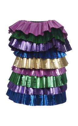 d0f6a10e5 ATTICO Strapless Color-Blocked Lamé Mini Dress