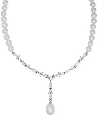 Swarovski SOFIA Certified Sofia Bridal Cultured Freshwater Pearl & Cubic Zirconia Silver Necklace