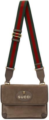 Gucci Beige Suede Neo Vintage Foldover Messenger Bag