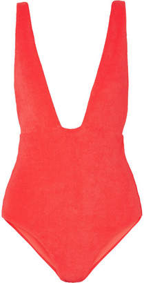 Mara Hoffman Audrey Cotton-blend Terry Swimsuit - Coral