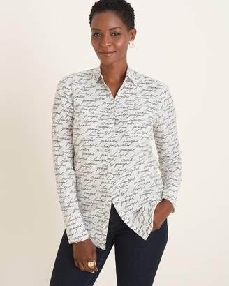 Chico's Chicos Silky Soft Word-Print Half-Placket Shirt