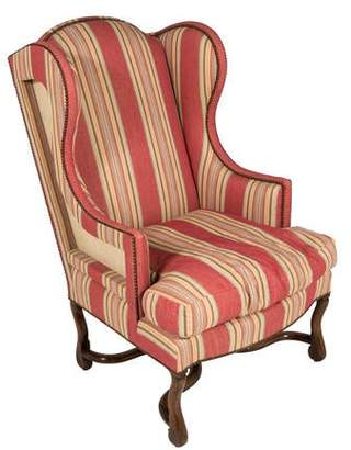 Striped Upholstered Wingback Chair