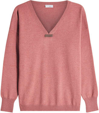 Brunello Cucinelli Cashmere Pullover with Bead Embellishment