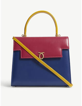 Launer Blue, Pink and Yellow Colour Block Traviata Leather Top Handle Bag