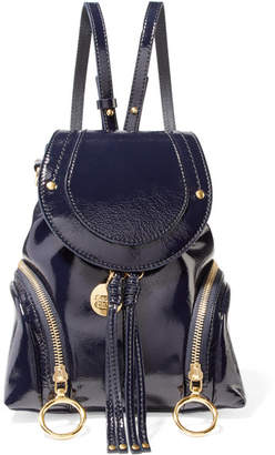 See by Chloe Olga Small Patent-leather Backpack - Midnight blue
