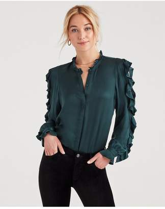 6aa2954bb646f0 7 For All Mankind Cold Shoulder Ruffle Top In Dark Forest Green