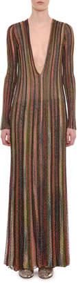Missoni Plunging Long-Sleeve Metallic Striped Long Dress