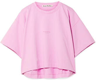 Acne Studios - Cylea Cropped Printed Cotton T-shirt - Baby pink