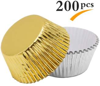 Uarter 200 Pieces Paper Cupcake Cup Aluminium Foil Muffin Baking Cups Liners Cupcakes Case, Silver and Golden