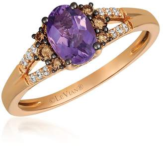 Chocolate By Petite Le Vian 14ct Strawberry Gold Amethyst & Coloured Diamond Ring