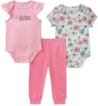 Calvin Klein 3-Pc. Cotton Bodysuit & Pants Set, Baby Girls