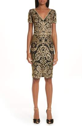 Marchesa Embroidered Sheath Dress