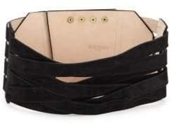 Balmain Wide Crisscross Leather Belt