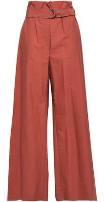 Brunello Cucinelli Belted Crinkled Cotton-blend Poplin Wide-leg Pants