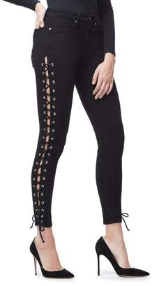 Good American Good Legs Lace Up Skinny Jeans