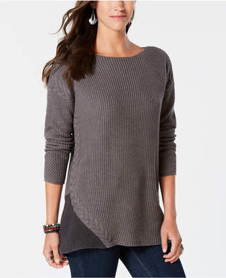 Style&Co. Style & Co Cable-Trimmed High-Low Tunic Sweater, Created for Macy's