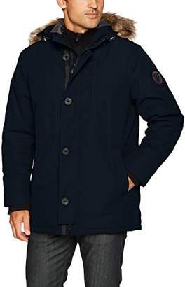 HFX Men's Parka Jacket with Removable Faux Fur Hood