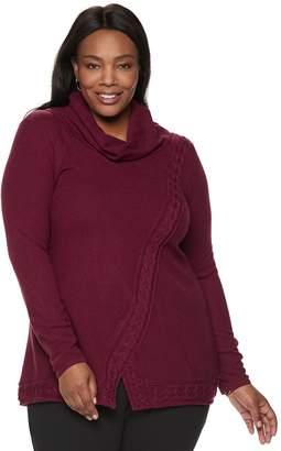 Croft & Barrow Plus Size Cable-Knit Cowlneck Sweater