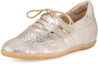 Sesto Meucci Halina Athleisure Metallic Leather Oxford, Taupe $169 thestylecure.com