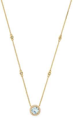 "Kiki McDonough 18K Yellow Gold Grace Round Blue Topaz & Diamond Necklace, 16"""