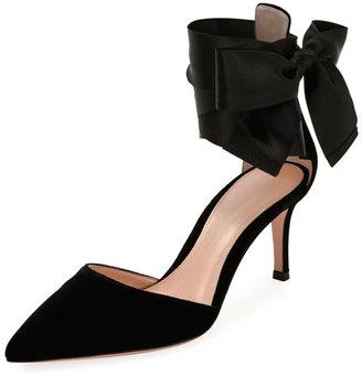 Velvet Ankle-Tie Point-Toe Pump, Black