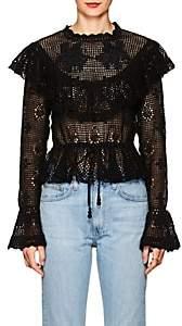 Zimmermann Women's Castile Floral Cotton Crochet Top-Black