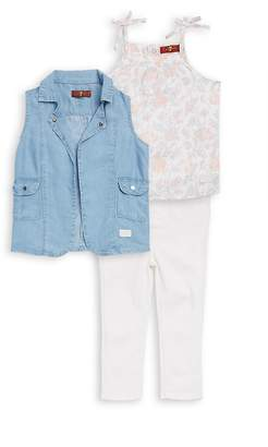 7 For All Mankind Little Girl's Three-Piece Denim Vest, Printed Cotton Top, and Classic Pants Set