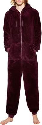 Topman Fleece One-Piece Hooded Jumpsuit
