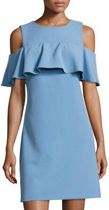 Taylor Cold-Shoulder Ruffled Dress, Light Blue $99 thestylecure.com