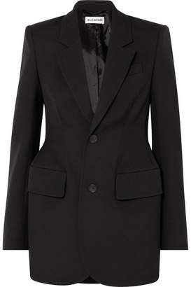 Balenciaga Hourglass Wool-gabardine Blazer - Black