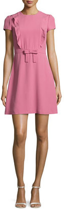 RED Valentino Short-Sleeve Ruffle-Front A-Line Dress, Blush $595 thestylecure.com