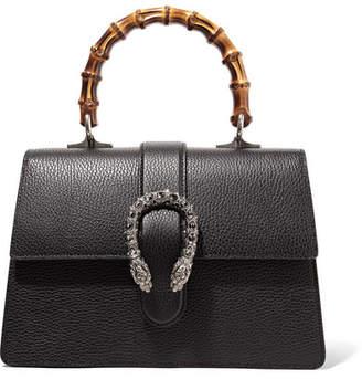 Gucci Dionysus Bamboo Medium Textured-leather Tote - Black