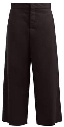 Marni Cropped Wide Leg Cotton Blend Twill Trousers - Womens - Black