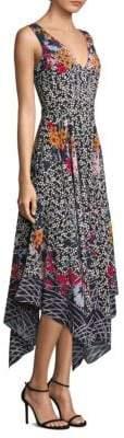 Saloni Zuri Floral-Print Silk Dress