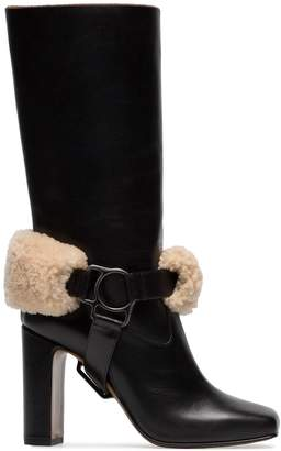 Off-White Riding XX leather and shearling boots