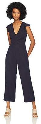 Pam & Gela Women's Ruffle Sleeve Laced Back Jumpsuit