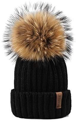 b199014747e BEIGE FURTALK Womens Girls Winter Fur Hat Real Large Raccoon Fur Pom Pom  Beanie Winter Hats