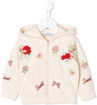 MonnaLisa embroidered design zipped hoodie