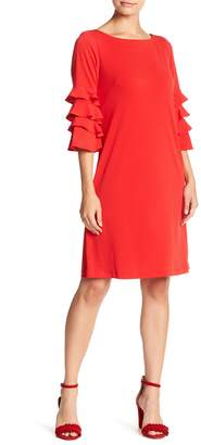 Gabby Skye Tiered Sleeve Crepe Shift Dress