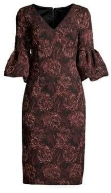 Aidan Mattox Printed Three-Quarter Sleeve V-Neck Dress