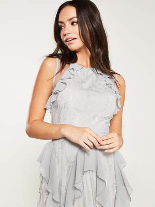 Forever Unique U Collection Frill Detail Maxi Dress - Grey