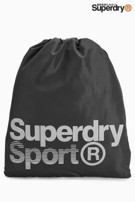 Next Superdry Black Reflective Drawstring Sports Bag