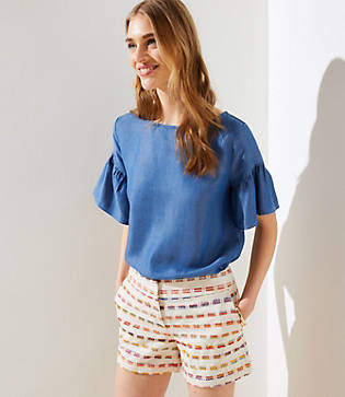 LOFT Rainbow Embroidered Riviera Shorts
