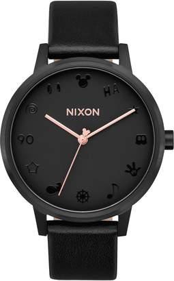 Nixon x Disney Kensington Mickey Leather Strap Watch, 37mm
