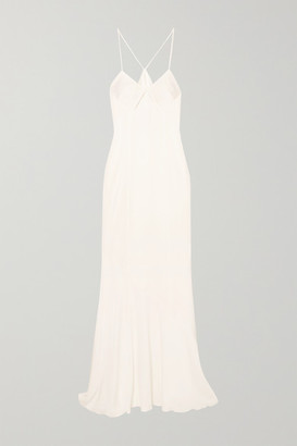 Galvan - Cutout Satin Gown - White