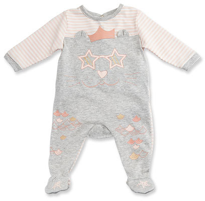 Little Marc Jacobs Little Marc Jacobs Long-Sleeve Stripe & Melange Footie Pajamas, Gray/Pink, Size 1-6 Months